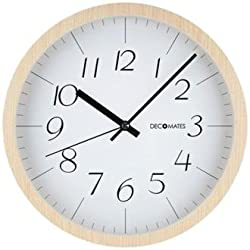 DecoMates Non-Ticking Silent Wall Clock, Modern Wooden