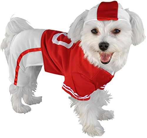 Football Player Red Uniform Dog Costume, Size (Dog Halloween Costumes Football Player)