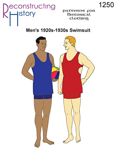 [Men's 1920s-1930s Knit Swimsuit Pattern in LARGER SIZES] (1920s Beach Costume)