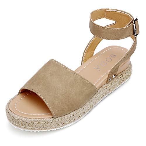 (Catata Womens Buckle Strap Platform Open Toe Sandals Espadrille Wedges Tan )
