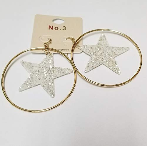 (White and Gold Glittered Star Accented Metal Hoop Dangle Earrings, 2.5