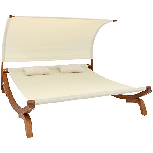 Sunnydaze Natural Colored Outdoor Double Wooden Lounger with Canopy