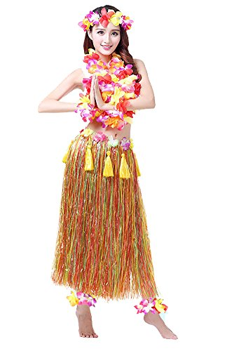 Adult Hawaiian Hula Set In Orange