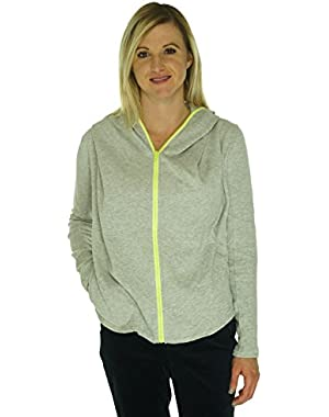 Jessica Simpson Juniors Zip-front Hoodie Light Grey/ Neon Yellow Size Small