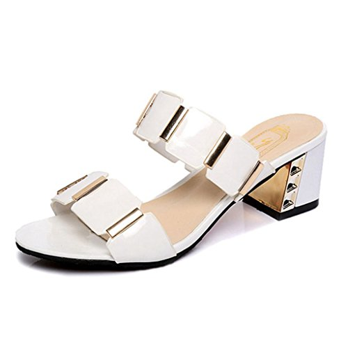 GIY Women's Summer Slide Sandals No-Slip Waterproof Slippers Thick Bottom Heel Platform Sandals White