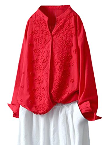Minibee Women's Long Sleeve Blouses Standing Collar Embroidery Cotton Linen Tunics Red