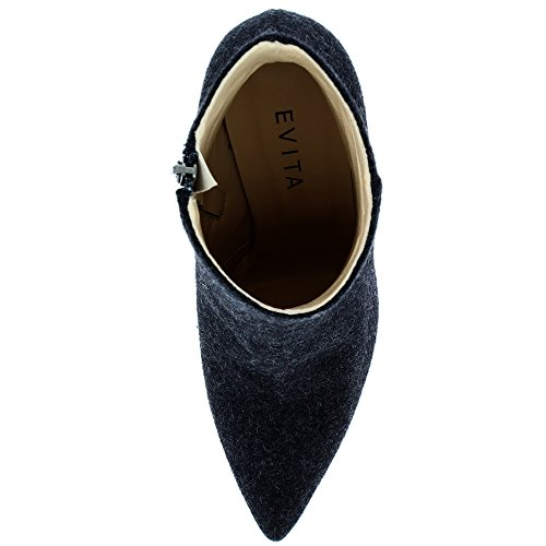 Evita Shoes Alina Damen Stiefelette Filz Schwarz