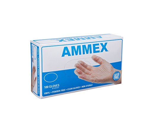 Price comparison product image AMMEX - VPF64100-BX - Medical Vinyl Gloves - Disposable, Powder Free, Exam, 4 mil, Medium, Clear (Box of 100)