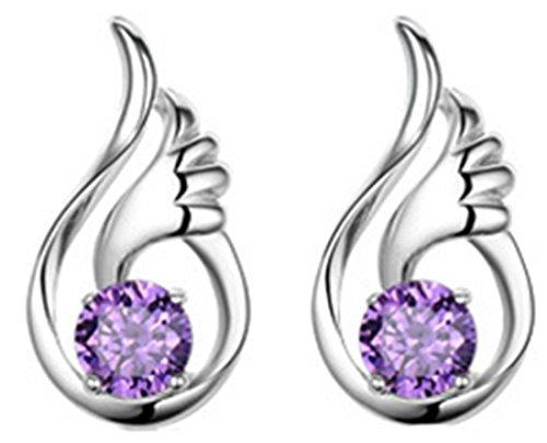 UPC 701041033858, Sterling Silver Angel Wing Drop Earrings Swarovski Elements Crystal Earrings (Purple)