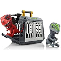 Untamed T-Rex + Raptor Jailbreak Playset by Fingerlings - Breakout (Red) & Bolt (Grey) by WowWee (Amazon Exclusive)