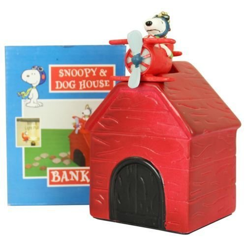 Peanuts Snoopy Red Barron Dog House Bank Kids Piggy Banks Bonus Light/Fan Pull.