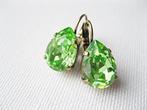 Green Rhinestone Tear Drop Earrings Swarovski CRYSTALLIZED Elements Peridot - Antique Brass Lever backs - Rustic Woodland Bridal (Element Peridot Ring)