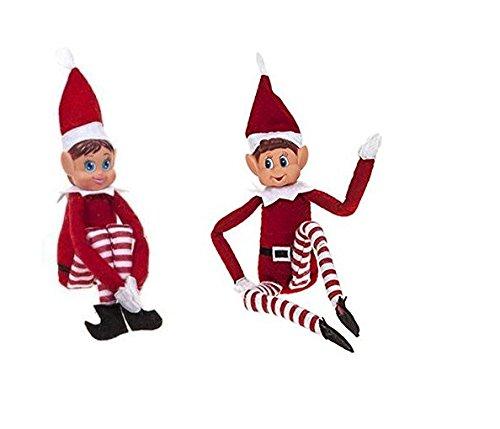 2x 30cm Bend and Pose Elf Girl & Boy - Avec des visages en vinyle et une poignée de mains ensemble - Plus les Elfes sont plus mécontents Elves Behaving Badly 1305699-2l