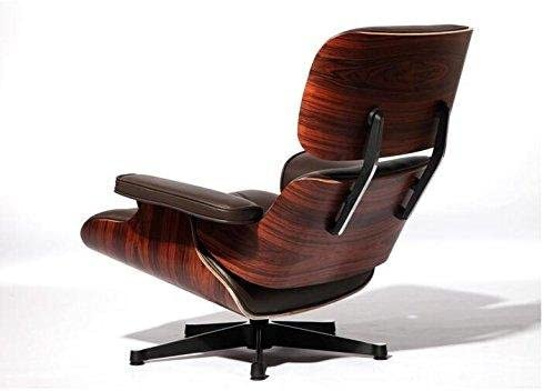 UPSUN EOE Simple Modern Fashion Style Living Room Genuine Leather Wood Lounge Chair and Ottoman Rosewood Brown