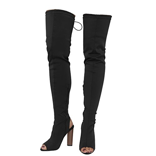 Block Thigh HIGH Celeb COLLECTION 3 Boots Womens Over Knee Knit Mocha Ladies Heels Size CORE Stretch 8 Lycra The qpIwPtp