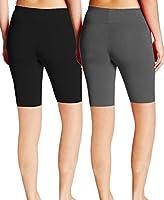 ABUSA Women's Cotton Workout Bike Yoga Shorts - Tummy Control