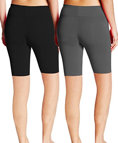 ABUSA Women's Cotton Workout Bike Yoga Shorts - Tummy Control(XL,Pack Of 2 - Black & (Womens Cotton Bermuda Shorts)
