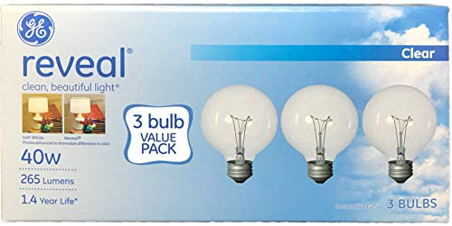 (GE Lighting Reveal 40 Watt; 265 Lumens 1.4 Year Life Decorative G25 Crystal Clear Globe Medium Base Light Bulbs (3 Bulbs))