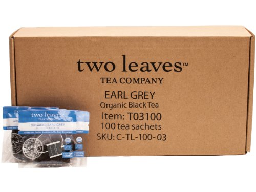(Two Leaves and a Bud Organic Earl Grey Black Tea Bags, 100 Count, Organic Whole Leaf Full Caffeine Black Tea in Pyramid Sachet Bags, Delicious Hot or Iced with Milk, Sugar, Honey or Plain)