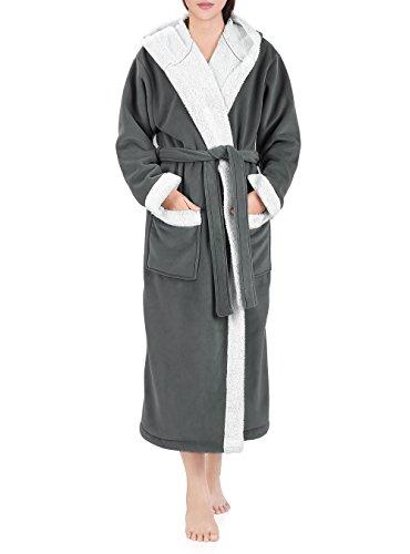 Genuwin Womens Micro Fleece Lined Robe Hood Collar Full Length Bathrobe Lounge Robe Sleepwear