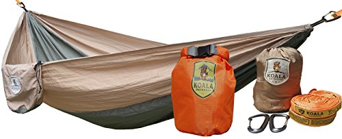 Koala Portable Camping Hammock Bed Bundle 400 lbs Max Weight +2-Hanging Straps, 2-Carabiners, Stuff Sack, Dry Bag