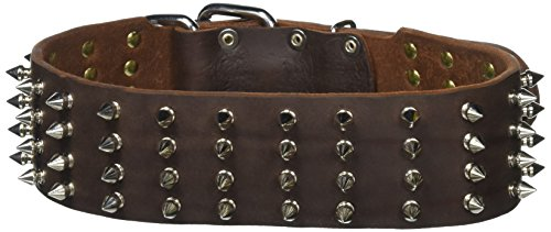 """Dean and Tyler """"4 ROW SPIKES"""", Extra Wide Dog Collar with..."""