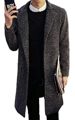 security Men's Winter Slim Single Breasted Overcoat Solid Trench Coat Jacket Dark Grey