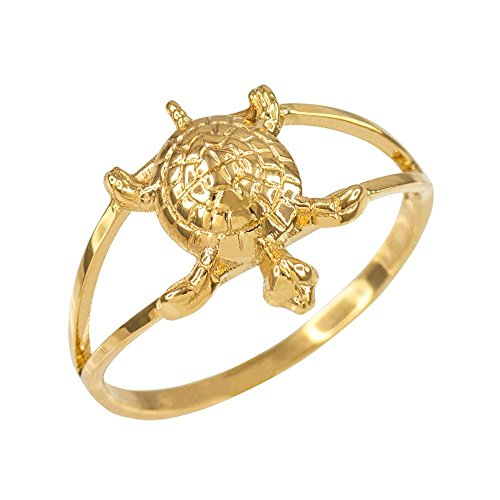 Dainty 14k Yellow Gold Lucky Turtle Charm Ring (Size 8) 14k Yellow Gold Turtle Charm