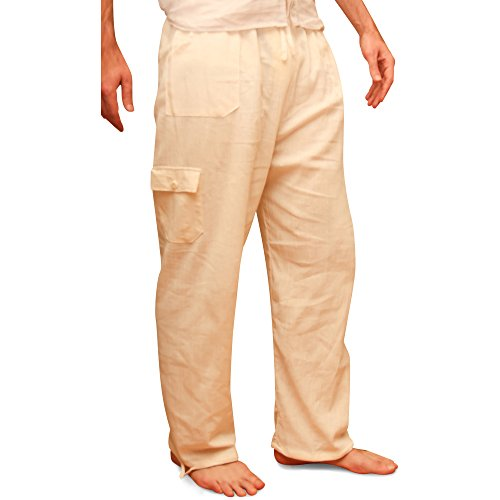 Pantaloni estivi di cotone prodotti tramite commercio etico, vita elastica, con tasche, dall�?Ecuador da Tumia. Beige.
