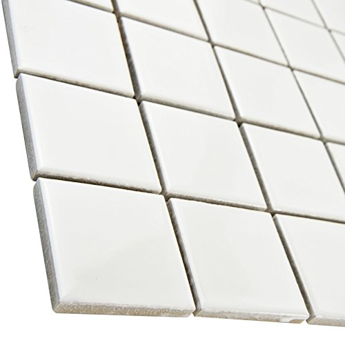 """Retro Square 2"""" Glossy White 12 1/4 x 12 1/4 Inch Porcelain Floor & Wall Tile (10 Pcs/10.4 Sq. Ft. Per Case, $1 Standard Shipping)"""
