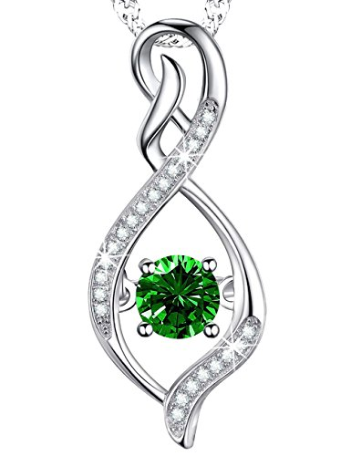 Emerald Necklace Infinite Love Jewelry Sterling Silver Swarovski Birthday Anniversary Gift for Her Women