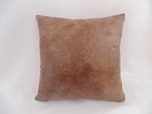 Light Brown Distressed Faux Suede - leather- like Decorative Pillow Cover, Handmade Pillow Cover, 16