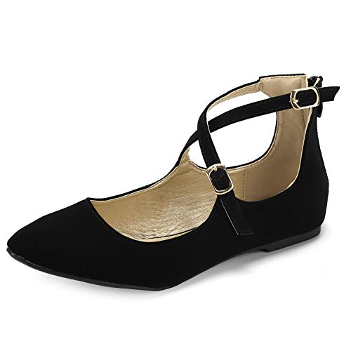 Women's Adjustable Cross Ankle Strap Flats Casual Flat Shoes Black Suede 10