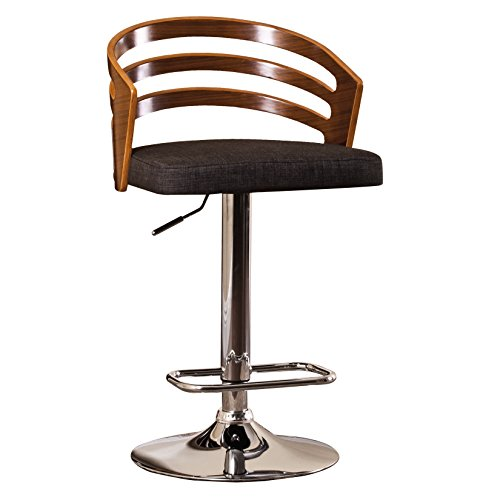 AC Pacific Modern Wood Back Hydraulic Seat Adjustable Swivel Bar Stool Chair with Cushion, 24