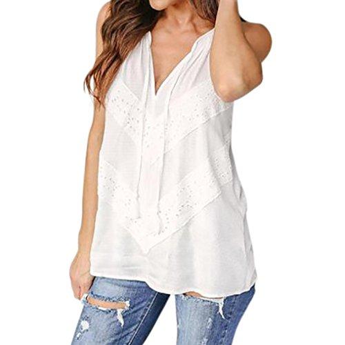 Goddessvan Women's Summer Sleeveless Lace Loose Cami Tank Top (L, White)
