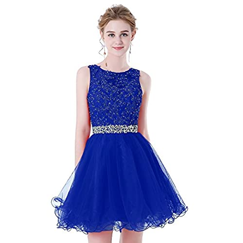HEIMO Womens Beaded Lace Homecoming Dresses Short Sequins Appliques Prom Gowns H108 8 Royal Blue