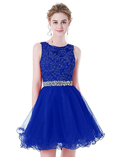 Formal Cocktail Prom Pageant Dress (HEIMO Women's Lace Beaded Homecoming Dresses Short Sequined Appliques Prom Gowns H122 6 Royal Blue)