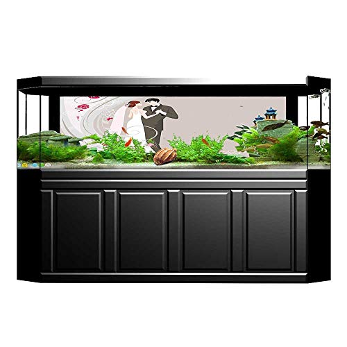 Jiahong Pan Aquarium Collage Wedding Ceremony Embellishments Bride and Groom Grey Black Pink Paper Fish Tank Backdrop Static Cling Wallpaper Sticker L29.5 x H19.6 ()