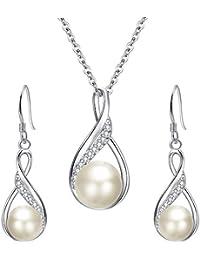 925 Sterling Silver CZ Teardrop Leaf Bridal Elegant Pendant Necklace Made with Swarovski Crystals
