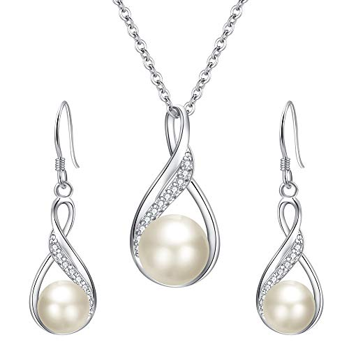 EleQueen 925 Sterling Silver CZ Freshwater Cultured Pearls Bridal Pendant Necklace Earrings Wedding Jewelry Stes