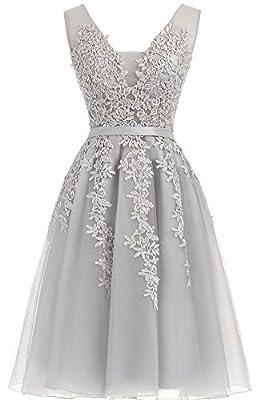 Annadress Women's Sleeveless Homecoming dresses Short Net Bridesmaid Dresses Appliques Evening Cocktail Gowns