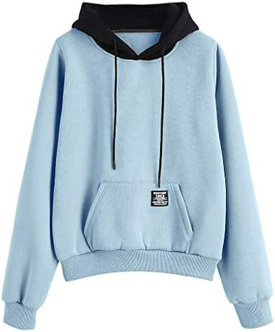 Women Long Sleeve Patchwork Pullover Strappy Hoodie Sweatshirt Drawstring Blouse Top Tunic with Front Pocket