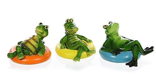 3er Set Tierische Schwimmer Teich Figuren Frosch Krokodil Schildkröte