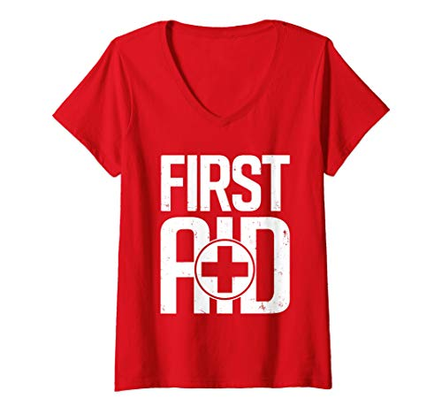 Womens First Aid Rescue Red Cross for Emergency Staff V-Neck T-Shirt