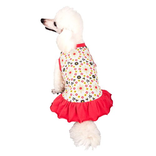 Image of Blueberry Pet Red & Sunshine Yellow Floral Cotton Dog Dress, Back Length 12