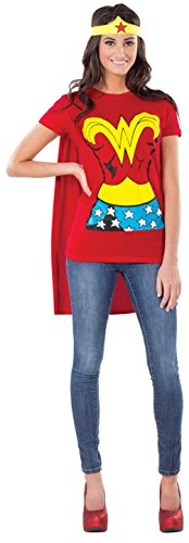 DC Comics Wonder Woman T-Shirt With Cape And Headband Red Medium Costume