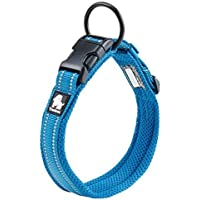 "Comfortable Durable Soft 3M Reflective Night Visibility Adjustable Safety Outdoor Use Mesh Breathable Nylon Small Medium Large Dog Pet Collar (S:13.8""-15.7"", Blue)"