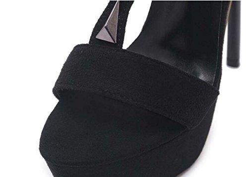 Sandalias 34 40 Negro Color para de Zapatos Open 38 Plataforma Tamaño Toe Negro Tacón Alto Mujer Tamaño rrP7wqR