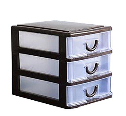 Oficina plástico barato dispositivo de almacenamiento Organizador de cajones-3 Gabinetes de almacenaje de Brown
