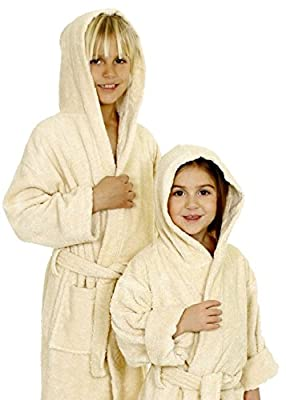 Kid's Terry Hooded Unisex Bathrobe 100% Cotton Kids Robe Kids Waffle Party Robe